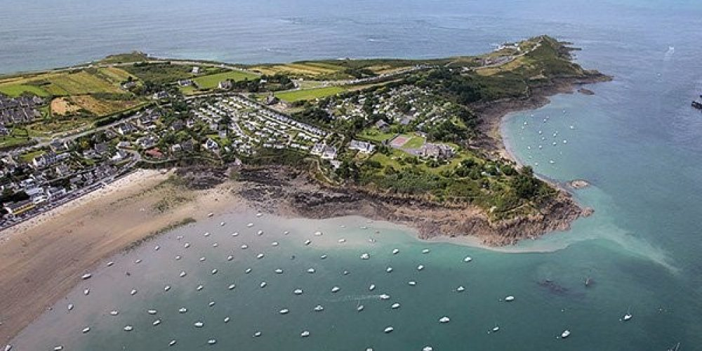 Vue aérienne du camping Port-Mer à Cancale